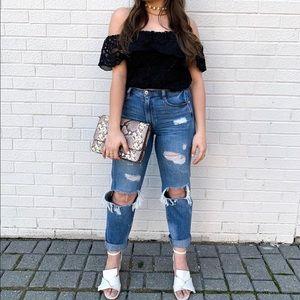 Off The Shoulders Lace Crochet Top